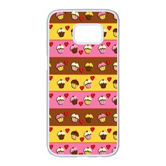Cupcakes pattern Samsung Galaxy S7 edge White Seamless Case
