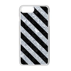 Stripes3 Black Marble & Gray Marble (r) Apple Iphone 7 Plus White Seamless Case