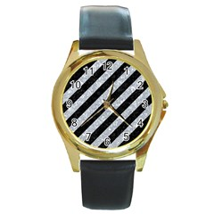 Stripes3 Black Marble & Gray Marble Round Gold Metal Watch
