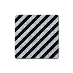 Stripes3 Black Marble & Gray Marble Magnet (square)