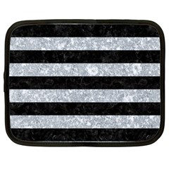 Stripes2 Black Marble & Gray Marble Netbook Case (large)