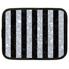 Stripes1 Black Marble & Gray Marble Netbook Case (large)