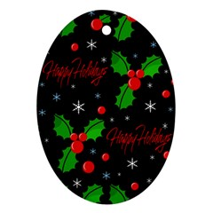 Happy holidays pattern Ornament (Oval)