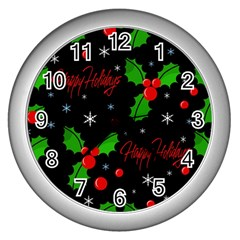 Happy holidays pattern Wall Clocks (Silver)