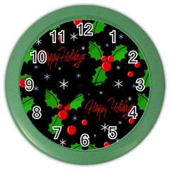 Happy holidays pattern Color Wall Clocks