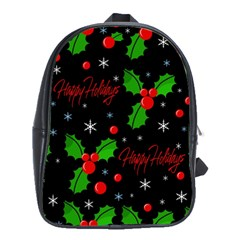 Happy holidays pattern School Bags(Large)
