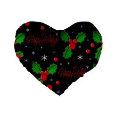 Happy Holidays Pattern Standard 16  Premium Heart Shape Cushions
