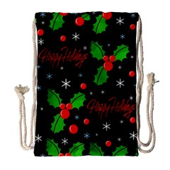 Happy holidays pattern Drawstring Bag (Large)