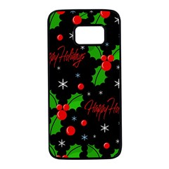 Happy holidays pattern Samsung Galaxy S7 Black Seamless Case