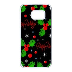 Happy holidays pattern Samsung Galaxy S7 White Seamless Case
