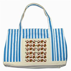 Xmas song pattern Striped Blue Tote Bag