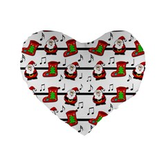 Xmas Song Pattern Standard 16  Premium Heart Shape Cushions