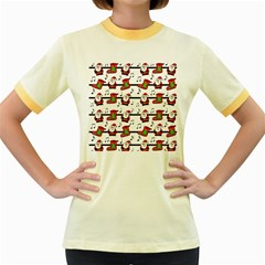Xmas song pattern Women s Fitted Ringer T-Shirts