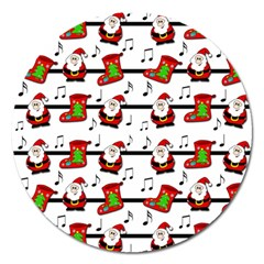 Xmas song pattern Magnet 5  (Round)