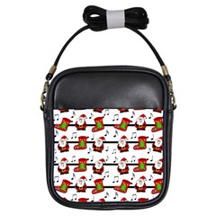 Xmas song pattern Girls Sling Bags
