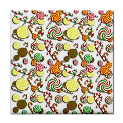 Xmas candy pattern Tile Coasters