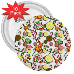 Xmas candy pattern 3  Buttons (10 pack)
