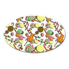 Xmas candy pattern Oval Magnet
