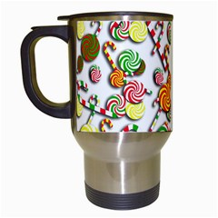 Xmas candy pattern Travel Mugs (White)