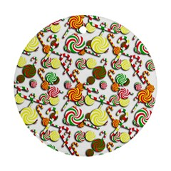 Xmas candy pattern Round Ornament (Two Sides)