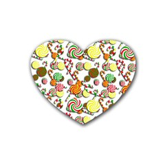 Xmas candy pattern Rubber Coaster (Heart)