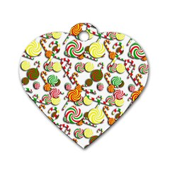 Xmas candy pattern Dog Tag Heart (One Side)