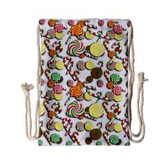 Xmas candy pattern Drawstring Bag (Small)