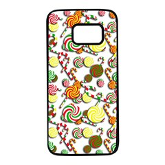 Xmas candy pattern Samsung Galaxy S7 Black Seamless Case