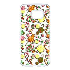 Xmas candy pattern Samsung Galaxy S7 edge White Seamless Case