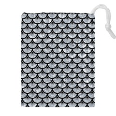Scales3 Black Marble & Gray Marble (r) Drawstring Pouch (xxl)