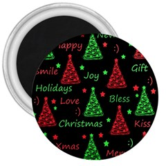 New Year Pattern   Red And Green 3  Magnets