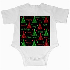 New Year pattern - red and green Infant Creepers