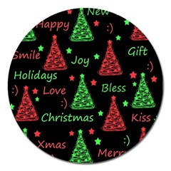 New Year Pattern   Red And Green Magnet 5  (round)