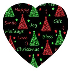 New Year pattern - red and green Jigsaw Puzzle (Heart)