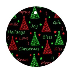 New Year pattern - red and green Round Ornament (Two Sides)