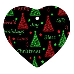 New Year pattern - red and green Heart Ornament (2 Sides)