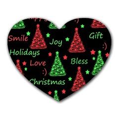 New Year pattern - red and green Heart Mousepads