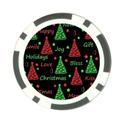 New Year pattern - red and green Poker Chip Card Guards (10 pack)