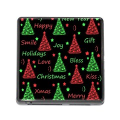 New Year pattern - red and green Memory Card Reader (Square)