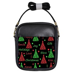New Year pattern - red and green Girls Sling Bags
