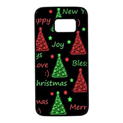 New Year pattern - red and green Samsung Galaxy S7 Black Seamless Case