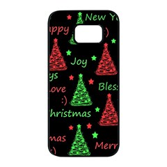 New Year pattern - red and green Samsung Galaxy S7 edge Black Seamless Case