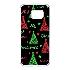 New Year Pattern   Red And Green Samsung Galaxy S7 Edge White Seamless Case