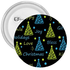 New Year Pattern   Blue And Yellow 3  Buttons