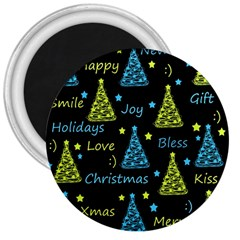 New Year Pattern   Blue And Yellow 3  Magnets
