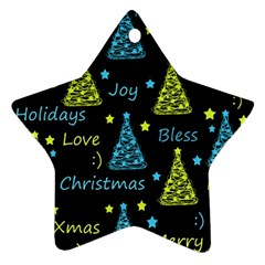 New Year pattern - blue and yellow Ornament (Star)
