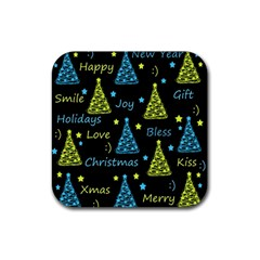 New Year pattern - blue and yellow Rubber Coaster (Square)