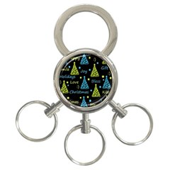 New Year pattern - blue and yellow 3-Ring Key Chains