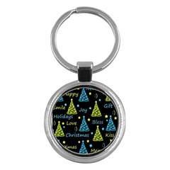 New Year pattern - blue and yellow Key Chains (Round)