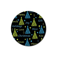 New Year pattern - blue and yellow Rubber Round Coaster (4 pack)